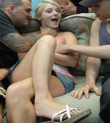 Blonde making a double penetration from Her First DP